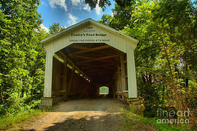 Photograph - Summer At Conley's Ford Covered Bridge by Adam Jewell