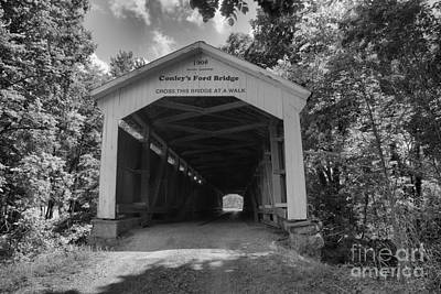 Photograph - Summer At Conley's Ford Covered Bridge Black And White by Adam Jewell