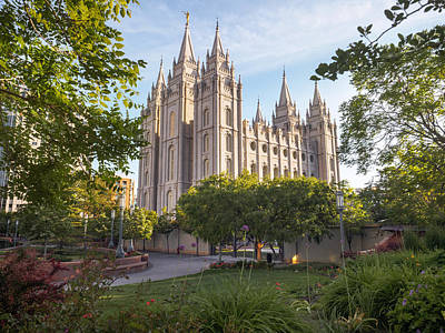 Mormon Temple Photograph - Summer At Temple Square by Emily Dickey