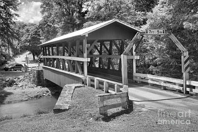 Photograph - Summer At The Colvin Covered Bridge Black And White by Adam Jewell