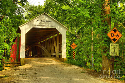 Photograph - Summer At The Cox Ford Covered Bridge by Adam Jewell