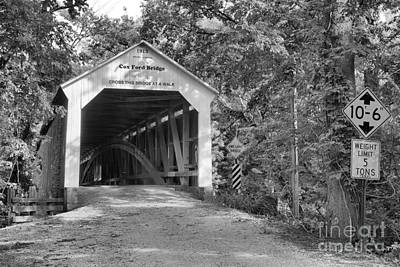 Photograph - Summer At The Cox Ford Covered Bridge Black And White by Adam Jewell