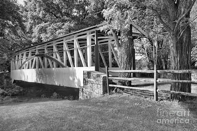 Photograph - Summer At The Dr. Kindely Covered Bridge Black And White by Adam Jewell