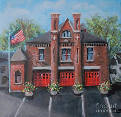 Painting - Summer At The Moody Street Fire House by Rita Brown