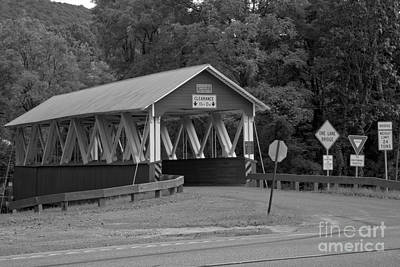 Photograph - Summer At The St. Mary Covered Bridge Black And White by Adam Jewell