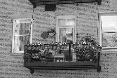 Photograph - Summer Balcony In B W by Colleen Cornelius