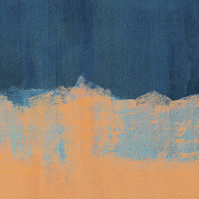 Digital Art - Summer Beach Abstract Orange Blue by Menega Sabidussi