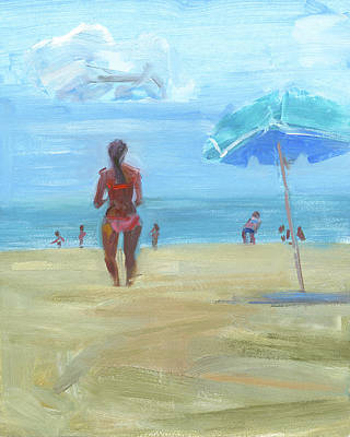 Maryland Painting - Summer Beach by Chris N Rohrbach