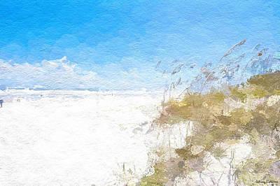 Beach Landscape Mixed Media - Summer Beach Dunes by Anthony Fishburne