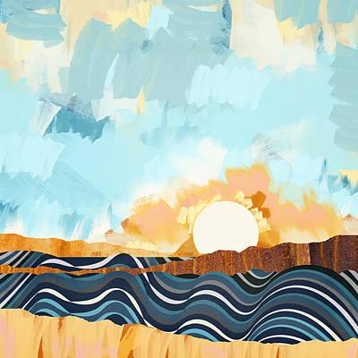 Abstract Beach Landscape Digital Art - Summer Beach Sunset by Spacefrog Designs