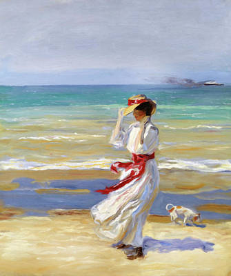 Modern Mixed Media - Summer Beach Walk Impressionism by Georgiana Romanovna