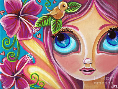 Fairy Hearts Pink Flower Painting - Summer Bliss Fairy by Jaz Higgins