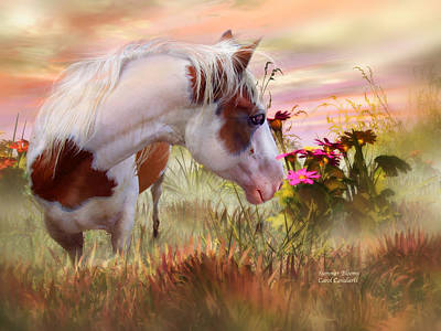 Horse Art Mixed Media - Summer Blooms by Carol Cavalaris