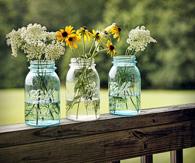 Canning Jar Photograph - Summer Blooms by Cricket Hackmann