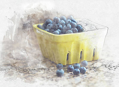 Digital Art - Summer Blueberries by Sue Collura