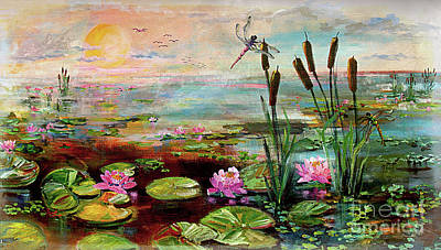 Painting - Summer By The Golden Pond Lily Flowers by Ginette Callaway