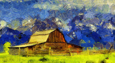 Barns In Snow Painting - Summer Cabin In The Tetons by Dan Sproul