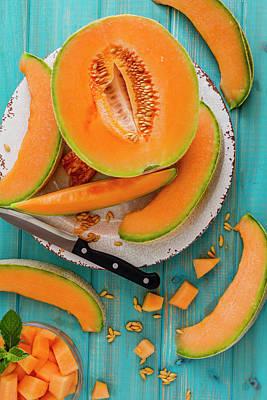 Cantaloupe Photograph - Summer Cantaloupe Melon by Teri Virbickis