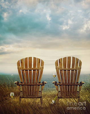 Photograph - Summer Chairs Sand Dunes And Ocean In Background by Sandra Cunningham