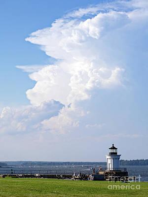 Photograph - Summer Clouds Over Portland Breakwater Lighthouse, So. Portland, Me #40218 by John Bald