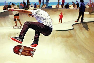 Edgy Painting - Summer Concrete Skate Board Park At The Beach by Elaine Plesser