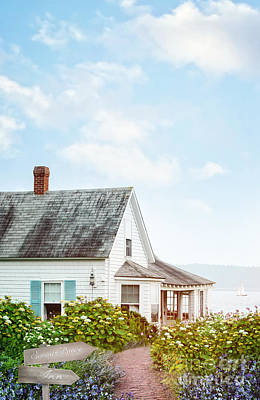 Photograph - Summer Cottage And Flowers By The Ocean by Sandra Cunningham