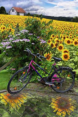 Summer Cycling Art Print by Debra and Dave Vanderlaan