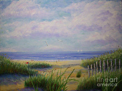 Summer Day At The Beach Art Print by Stanton Allaben