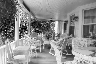 Rocking Chairs Mixed Media - Summer Day On The Victorian Veranda Bw 02 by Thomas Woolworth
