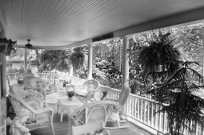 Summer Day On The Victorian Veranda Bw 03 Art Print by Thomas Woolworth