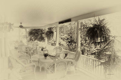 Rocking Chairs Mixed Media - Summer Day On The Victorian Veranda Heirloom by Thomas Woolworth