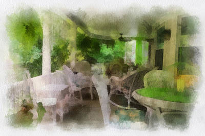 Rocking Chairs Mixed Media - Summer Day On The Victorian Veranda Pa 01 by Thomas Woolworth