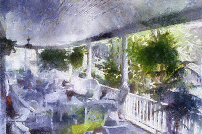 Rocking Chairs Mixed Media - Summer Day On The Victorian Veranda Pa 02 by Thomas Woolworth