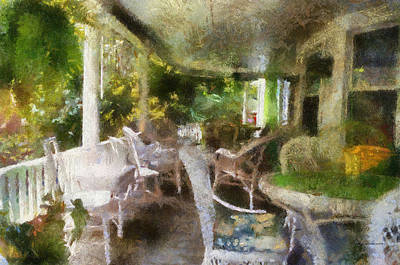 Rocking Chairs Mixed Media - Summer Day On The Victorian Veranda Pa 04 by Thomas Woolworth