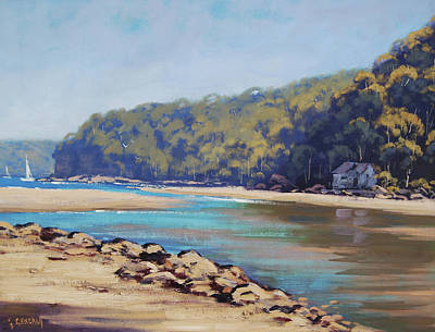 Beach Scene Painting -  Summer Day Patonga Nsw Australia by Graham Gercken