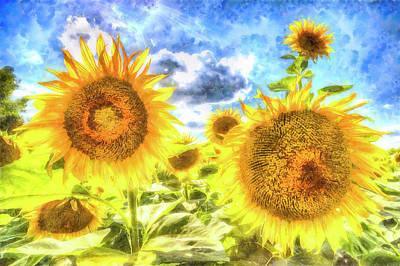 Impressionism Photos - Summer Day Sunflowers Art by David Pyatt