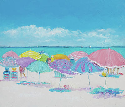 People On Beach Painting - Summer Days Drifting Away by Jan Matson