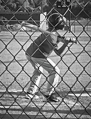 Homeplate Photograph - Summer Days - Little League Batter 1b - Bw by Greg Jackson