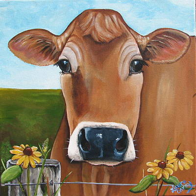 Jersey Cow Painting - Summer Dayz by Laura Carey