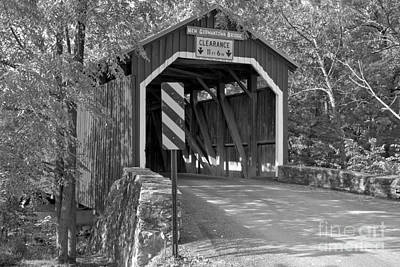 Photograph - Summer Delight At The New Germantown Covered Bridge Black And White by Adam Jewell