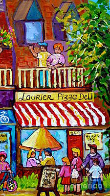 Painting -  Summer Dining Rue Laurier Pizza Deli Montreal Paintings Of Plateau Mont Royal Carole Spandau by Carole Spandau