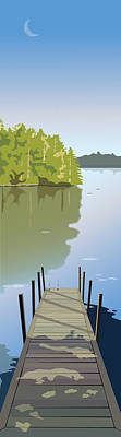 Wall Art - Painting - Summer Dock by Marian Federspiel