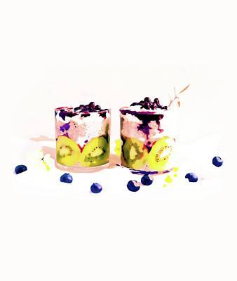 Strawberry Mixed Media - Summer Drinkin' by Uma Gokhale
