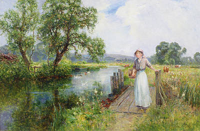 Riverbank Painting - Summer by Ernest Walbourn