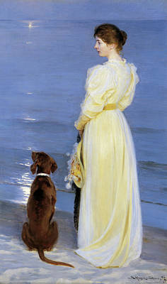 Summer Evening At Skagen - The Artist's Wife And Dog By The Shore Art Print