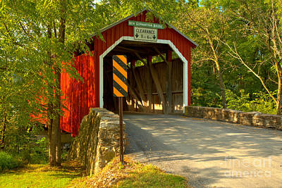 Photograph - Summer Evening At The New Germantown Covered Bridge by Adam Jewell