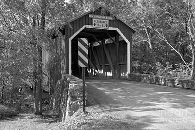 Photograph - Summer Evening At The New Germantown Covered Bridge Black And White by Adam Jewell