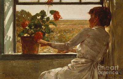 Red Geranium Painting - Summer Evening by Childe Hassam