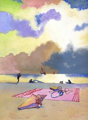 Surfers Painting - Summer Evening by George Adamson