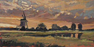 Painting - Summer Evening In The Polder by Nop Briex
